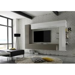 Composition TV murale design blanc laqué/gris mat Leman