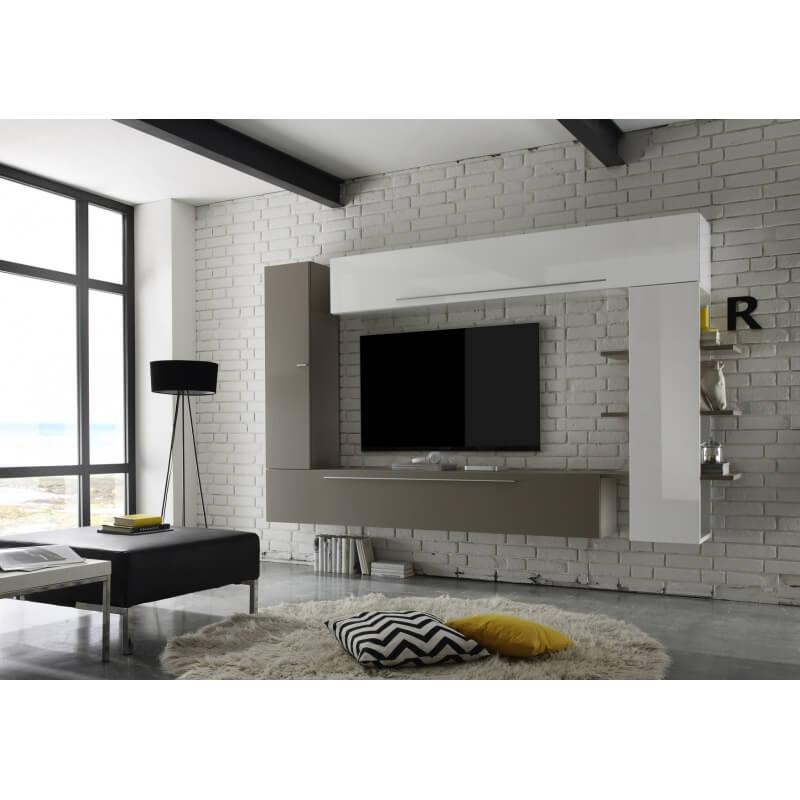 composition tv murale design blanc laqu gris mat leman. Black Bedroom Furniture Sets. Home Design Ideas