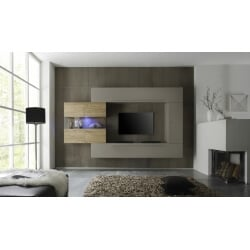 Composition TV murale design gris mat/miel Bourget