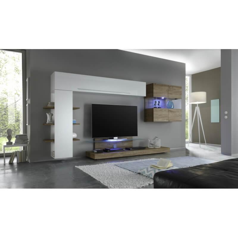 composition tv murale design blanc miel delicio matelpro. Black Bedroom Furniture Sets. Home Design Ideas