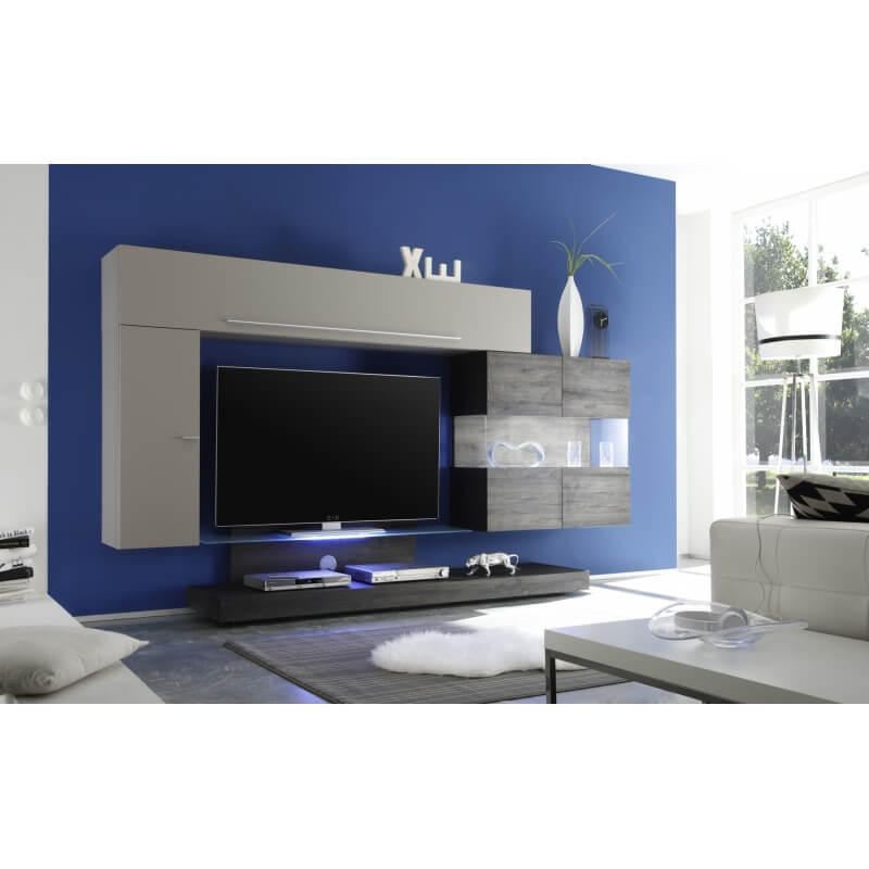 composition tv murale design gris mat m lamin gris. Black Bedroom Furniture Sets. Home Design Ideas