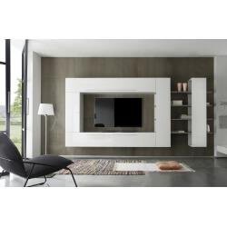 Composition TV murale design blanc laqué/gris Riviera