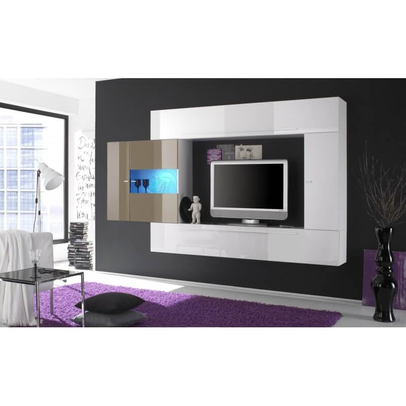composition tv murale design laqu e blanche cleopatre. Black Bedroom Furniture Sets. Home Design Ideas