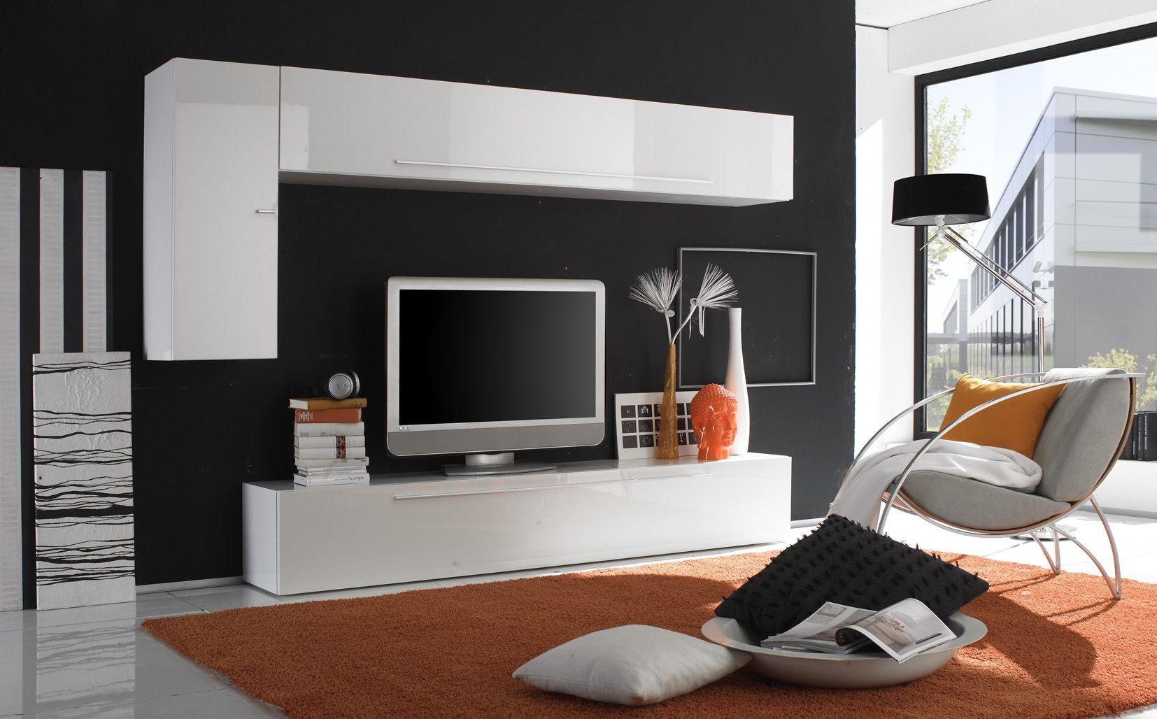 composition tv murale design laqu e blanche creteil. Black Bedroom Furniture Sets. Home Design Ideas