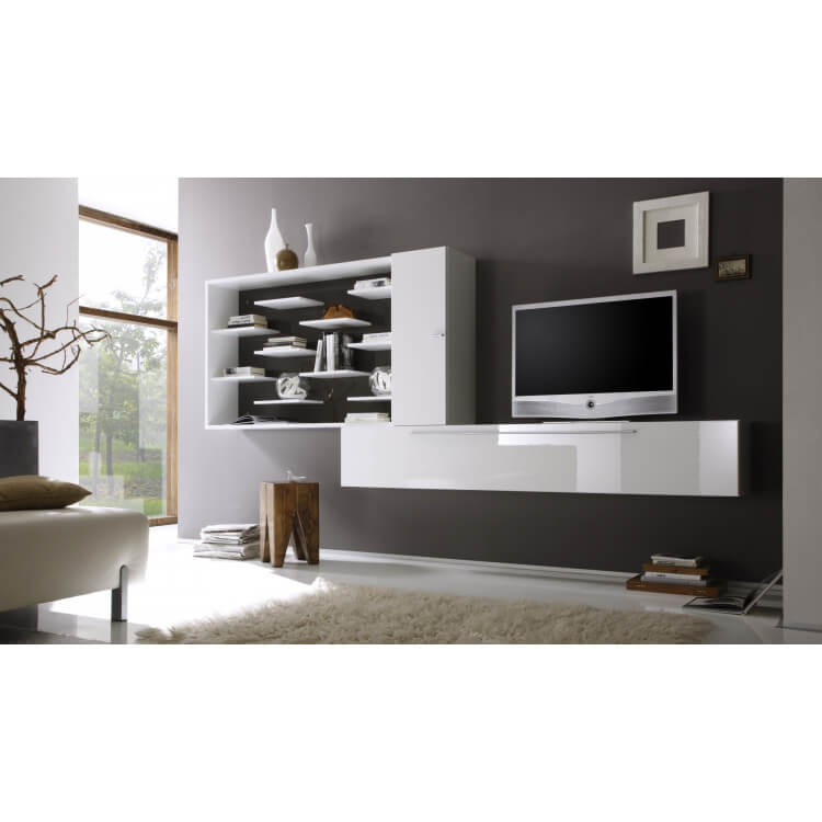composition tv murale design laqu e blanche anthracite gibraltar. Black Bedroom Furniture Sets. Home Design Ideas