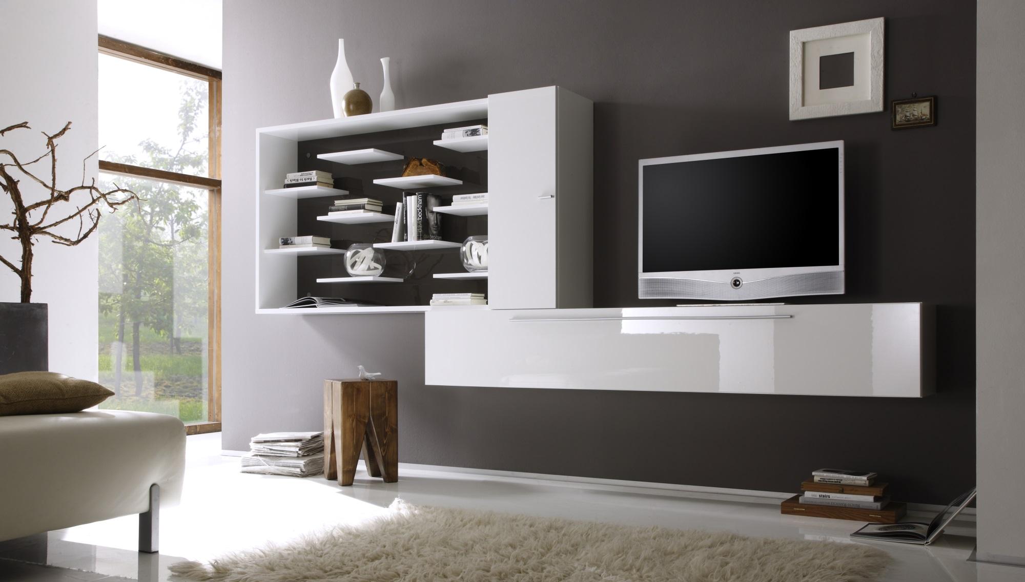 composition tv murale design laqu e blanche anthracite gibraltar. Black Bedroom Furniture Sets. Home Design Ideas