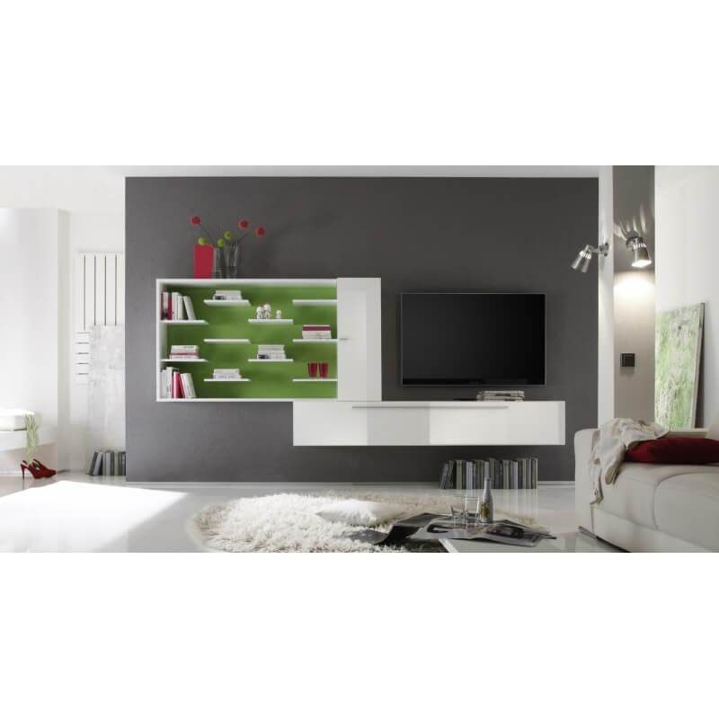 composition tv murale design blanc laqu vert gibraltar. Black Bedroom Furniture Sets. Home Design Ideas