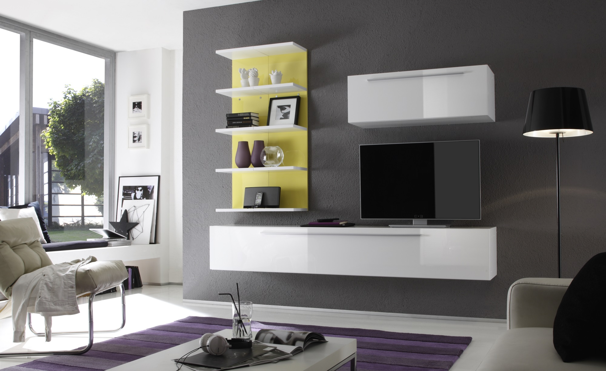 composition tv murale design blanc laqu jaune almovar. Black Bedroom Furniture Sets. Home Design Ideas