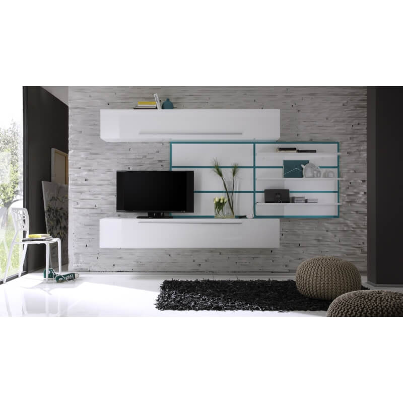composition tv murale design blanc laqu turquoise celtic. Black Bedroom Furniture Sets. Home Design Ideas
