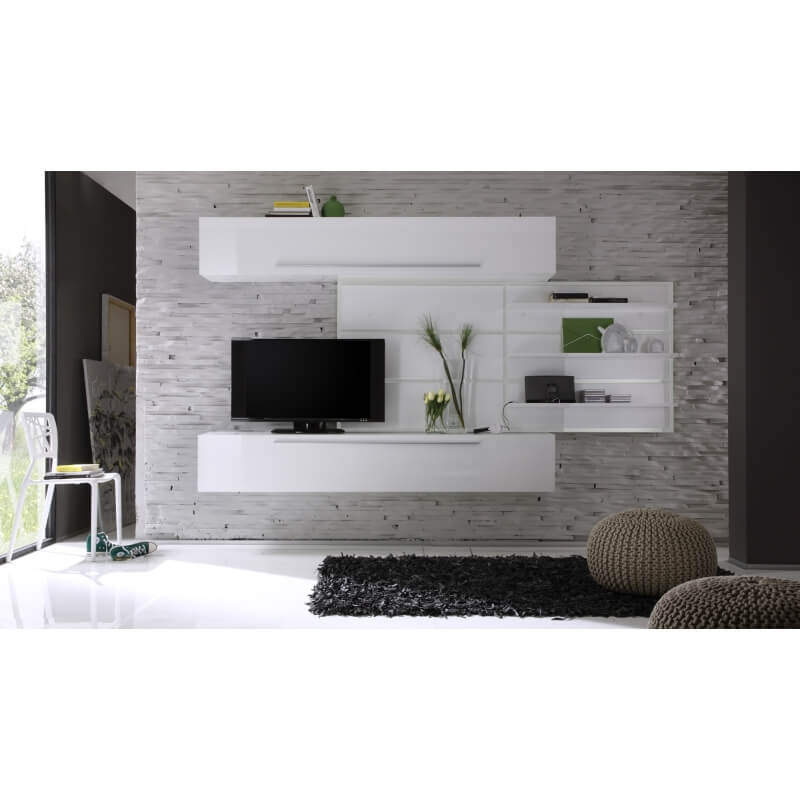 composition tv murale design laqu e blanche celtic. Black Bedroom Furniture Sets. Home Design Ideas