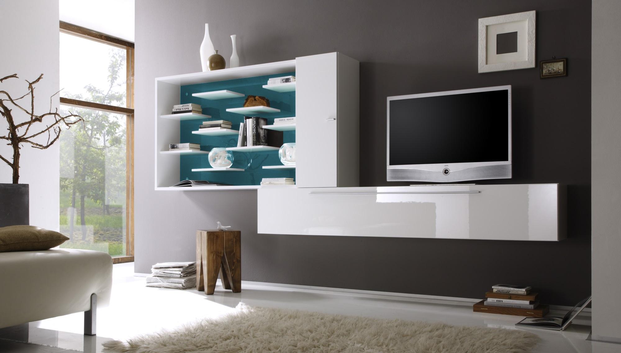 composition tv murale design blanc laqu turquoise gibraltar. Black Bedroom Furniture Sets. Home Design Ideas