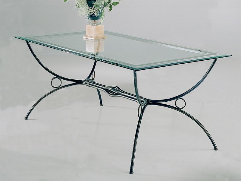 Table verre & fer forgé rectangulaire de salle à manger FLORENCE