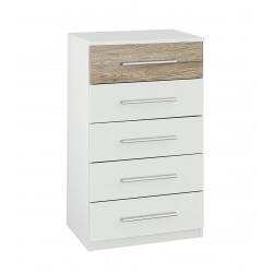 Chiffonnier contemporain 5 tiroirs blanc/chêne clair Tamara