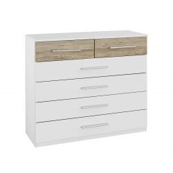 Commode contemporaine 6 tiroirs blanche/chêne clair Tamara