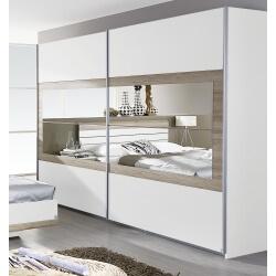 Armoire contemporaine 2 portes coulissantes 226 cm blanche/chêne clair Tamara