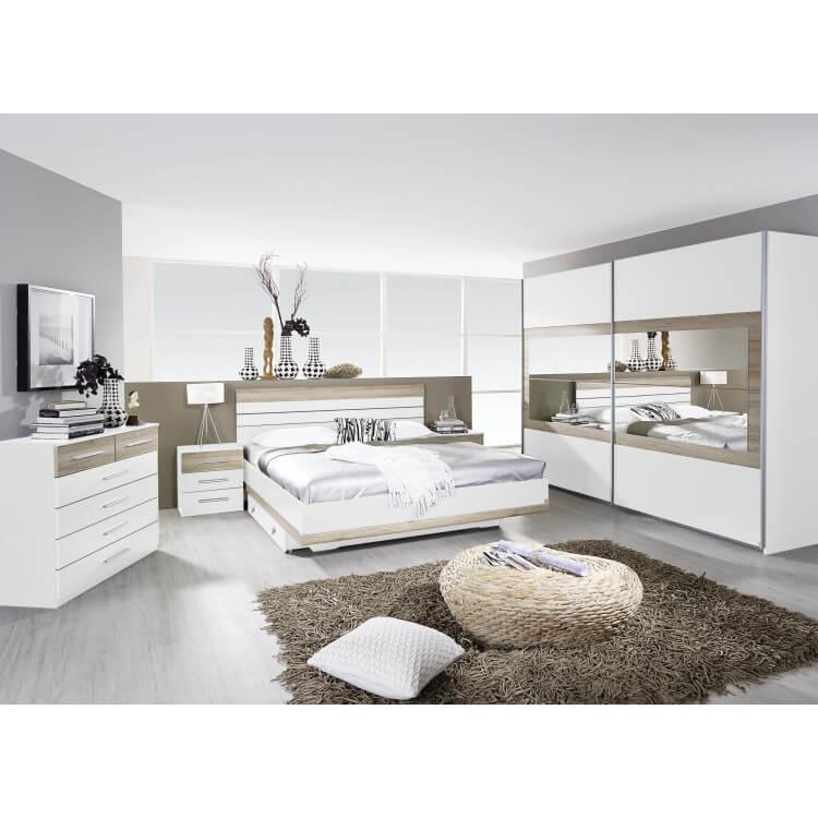 Chambre adulte complète contemporaine blanche/chêne clair Tamara ...