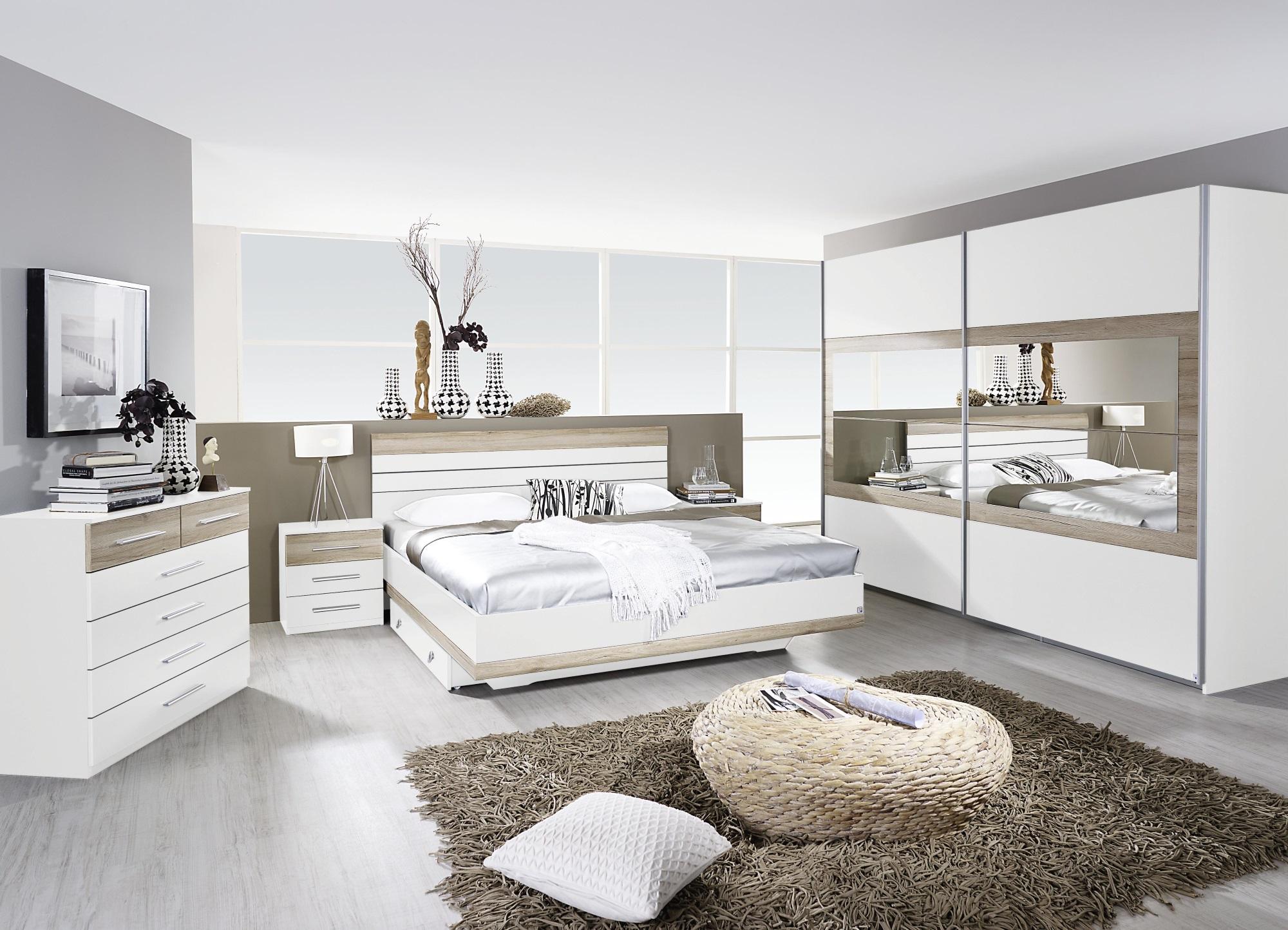 Chambre adulte complète contemporaine blanche/chêne clair Tamara III