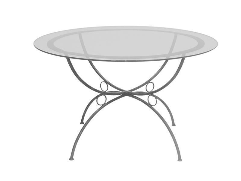 Table verre & fer forgé ronde de salle à manger FLORENCE