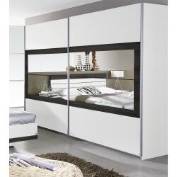 Armoire contemporaine 2 portes coulissantes 181 cm blanche/wengé Kamaro