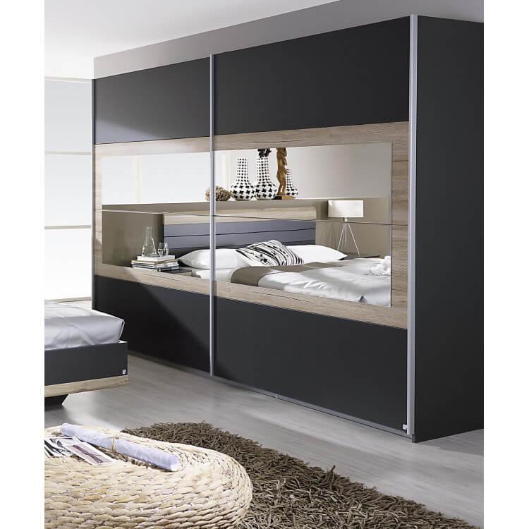 Armoire contemporaine 2 portes coulissantes 226 cm grise/chêne clair Djaneiro