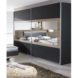 Armoire contemporaine 2 portes coulissantes 271 cm grise/chêne clair Djaneiro
