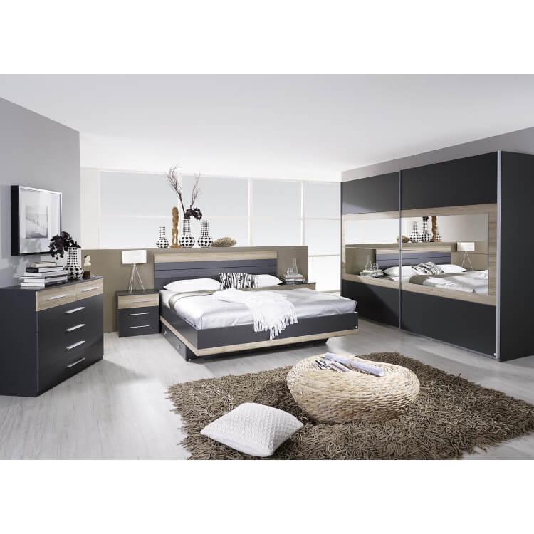 Chambre adulte complète contemporaine gris/chêne clair Djaneiro