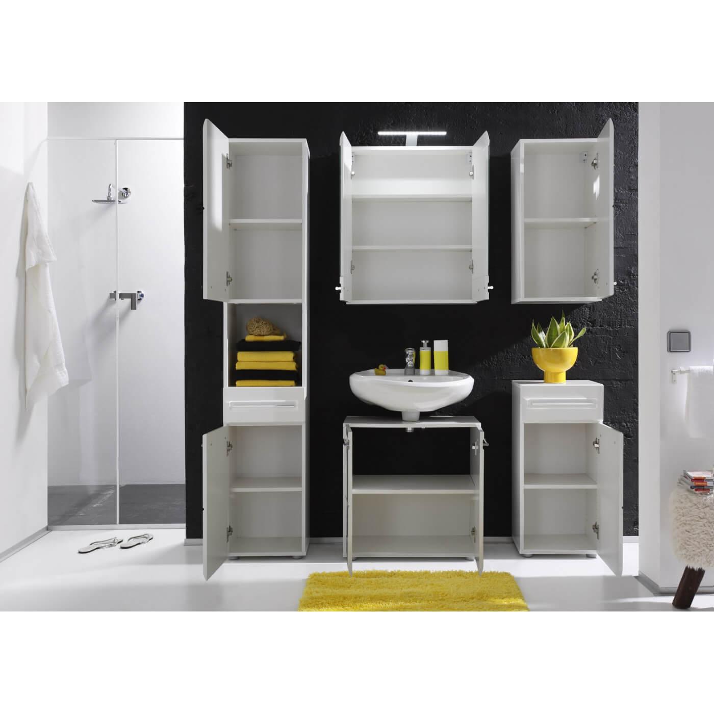 Meuble sous lavabo de salle de bain design laqu blanc - Meuble salle de bain sous lavabo ...