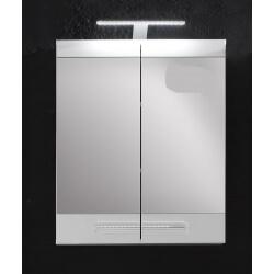 Armoire de toilette avec éclairage design laquée blanche Obra