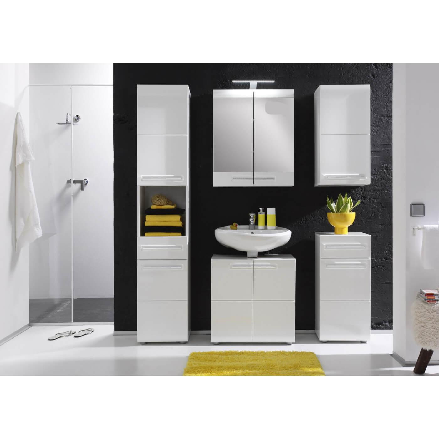 Meuble haut de salle de bain design laqu blanc obra - Meuble de salle de bain laque blanc ...