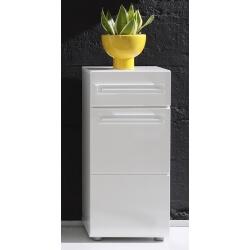 Meuble bas de salle de bain 1 porte/1 tiroir laqué blanc Obra
