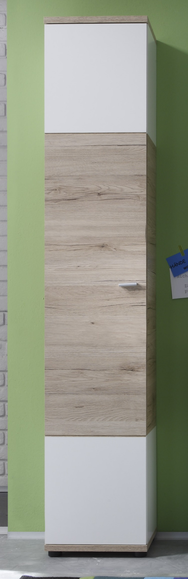 Colonne de salle de bain contemporaine chêne clair/blanche Cambodge