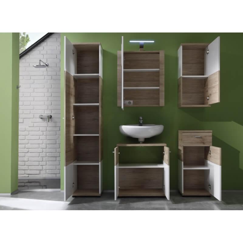 colonne de salle de bain contemporaine ch ne clair blanche. Black Bedroom Furniture Sets. Home Design Ideas