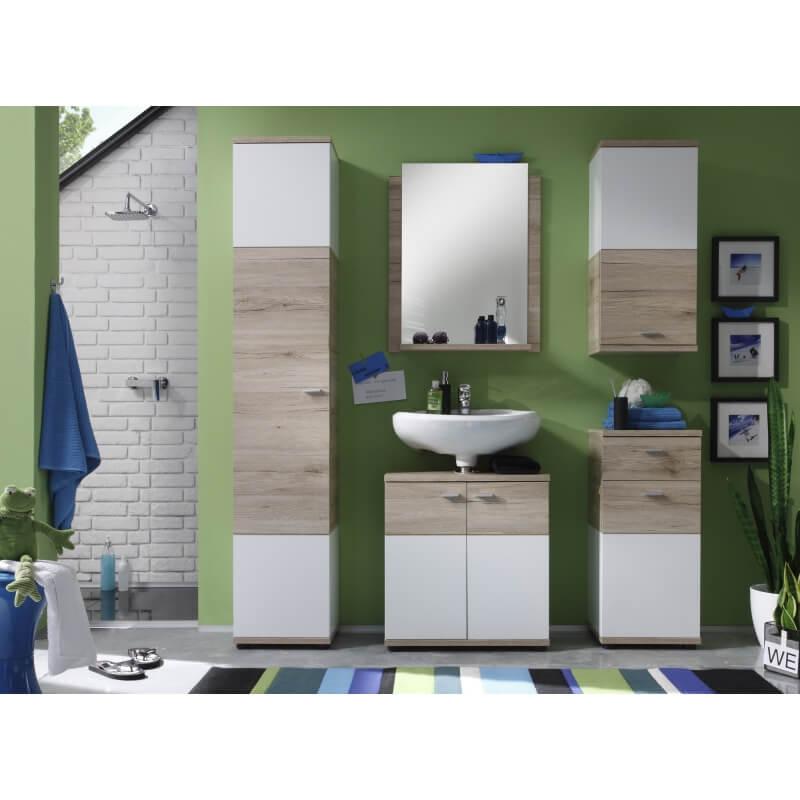 Meuble haut de salle de bain contemporain 1 porte ch ne clair blanc cambodge matelpro - Meuble chene clair contemporain ...