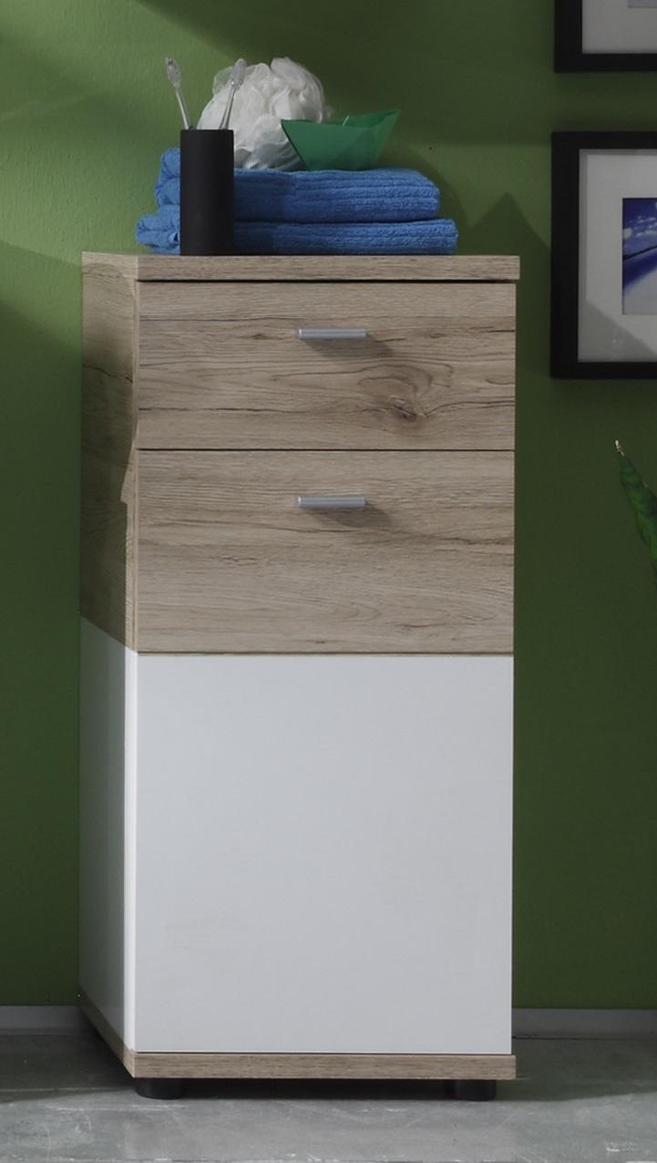 Meuble bas de salle de bain contemporain 1 porte/1 tiroir chêne clair/blanc Cambodge