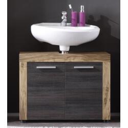 Meuble sous lavabo contemporain 2 portes chêne/gris foncé Bloom