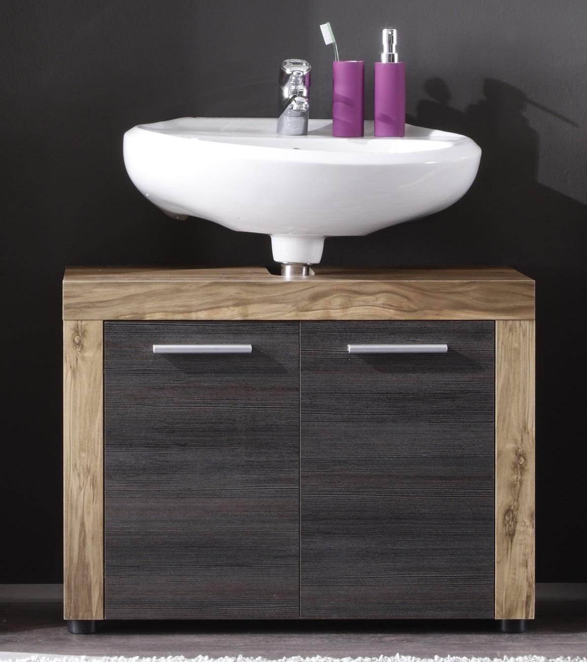 Meuble sous lavabo contemporain 2 portes chêne/gris foncé Bloom ...