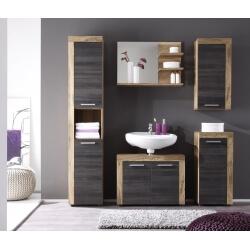 Ensemble de salle de bain contemporain chêne/gris foncé Bloom