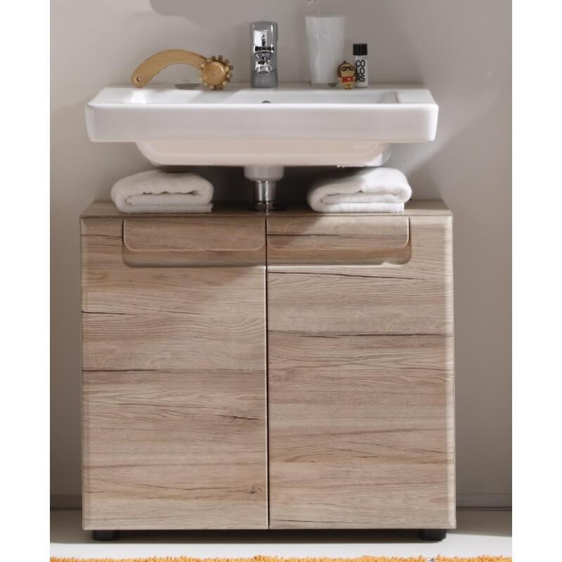 Meuble sous lavabo de salle de bain contemporain ch ne clair mileane matelpro - Meuble chene clair contemporain ...