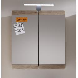 Armoire de toilette contemporaine avec éclairage chêne clair Mileane