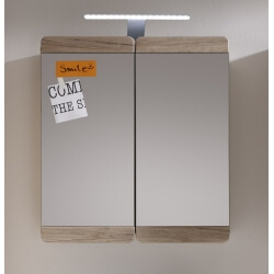 Armoire de toilette contemporaine chêne clair Mileane