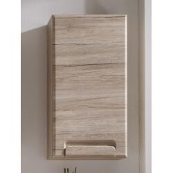 Meuble haut de salle de bain contemporain 1 porte chêne clair Mileane