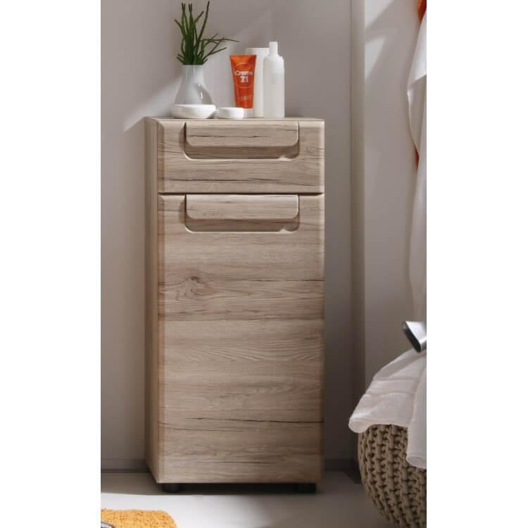 Meuble bas de salle de bain contemporain 1 porte/1 tiroir chêne clair Mileane