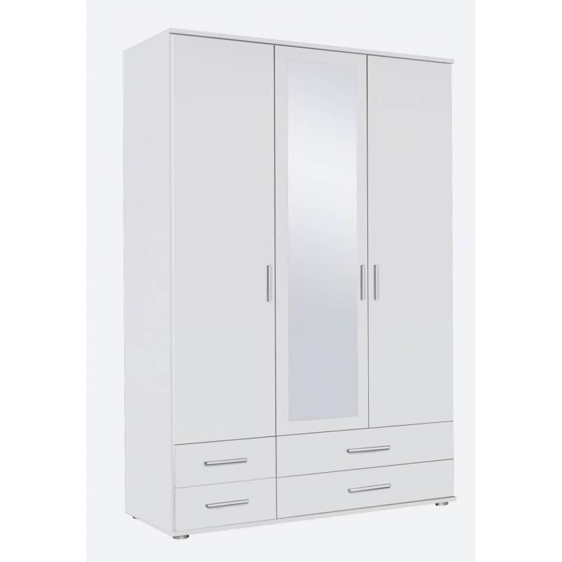 Armoire contemporaine 3 portes 4 tiroirs blanche lazaro matelpro - Armoire 3 portes blanche ...