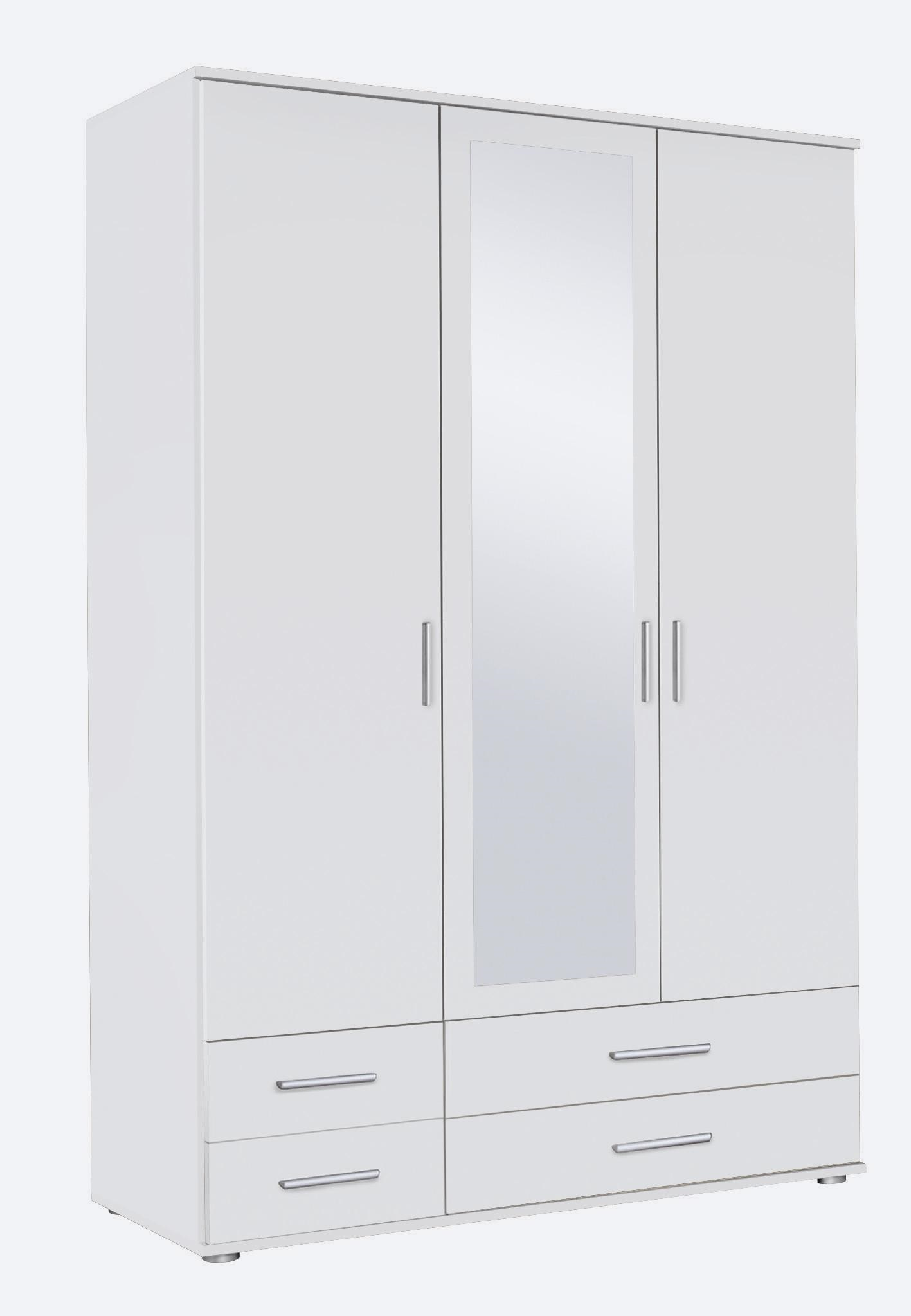 Armoire contemporaine 3 portes/4 tiroirs blanche Lazaro