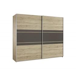 Armoire contemporaine 2 portes coulissantes 218 cm chêne/lavagrau Marcello