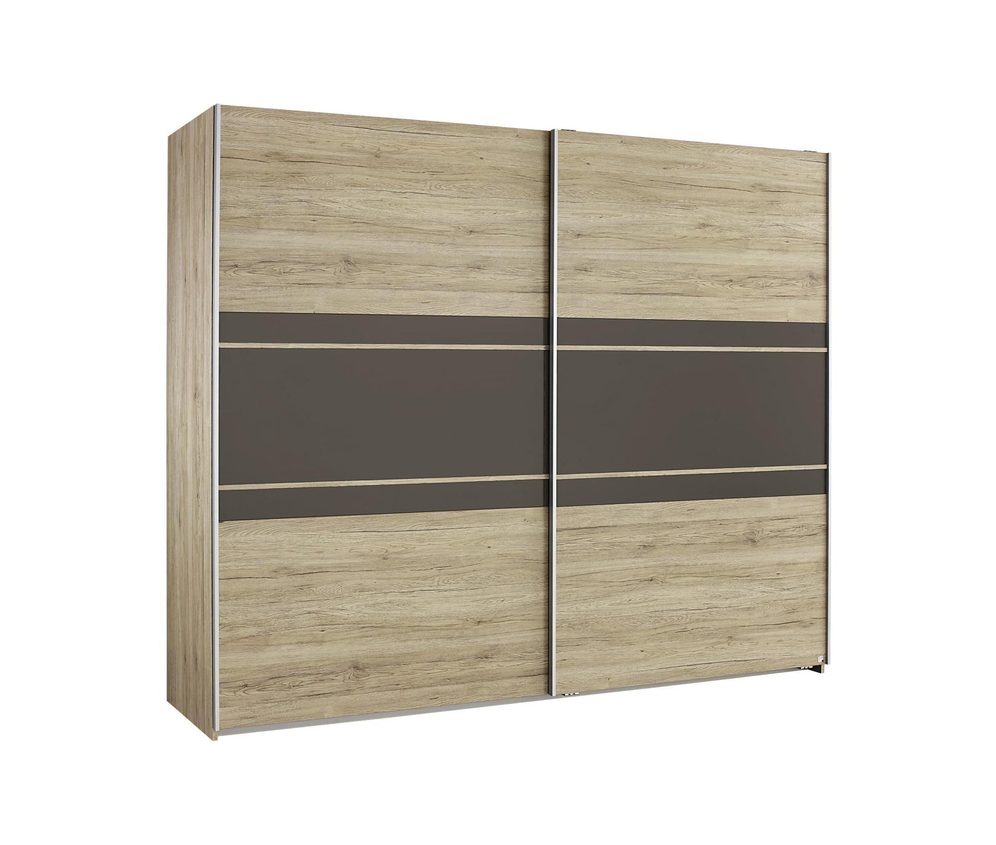 Armoire contemporaine 2 portes coulissantes 261 cm chêne/lavagrau Marcello