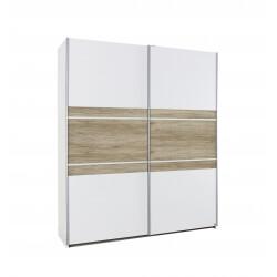 Armoire contemporaine 2 portes coulissantes 218 cm chêne/blanc Marcello