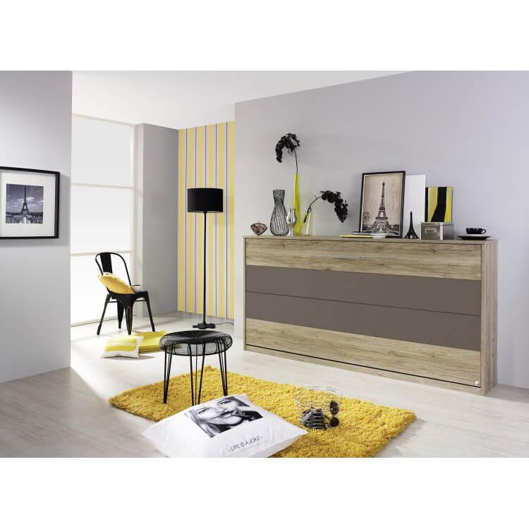 armoire lit contemporaine coloris ch ne clair lavagrau alberto matelpro. Black Bedroom Furniture Sets. Home Design Ideas