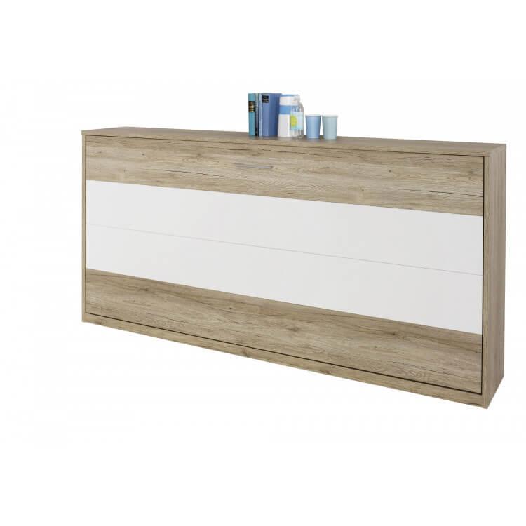Armoire-lit contemporaine coloris chêne clair/blanc Alberto