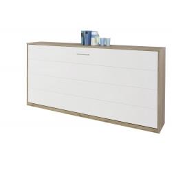 Armoire-lit contemporaine coloris chêne clair/blanc Alberto II